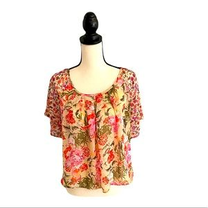 Forever 21 Sheer Floral Cropped Blouse M